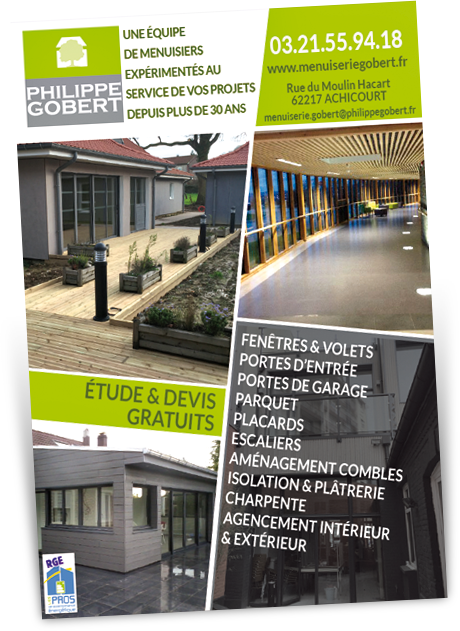 Création graphique Flyer Menuiserie Philippe GOBERT - Mediafly - Arras